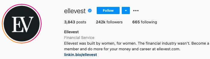 mejores biografías de instagram - bio de la página de instagram de ellevest