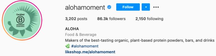 mejores biografías de instagram - aloha instagram bio page