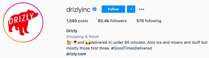 mejores biografías de instagram - drizly instagram page bio