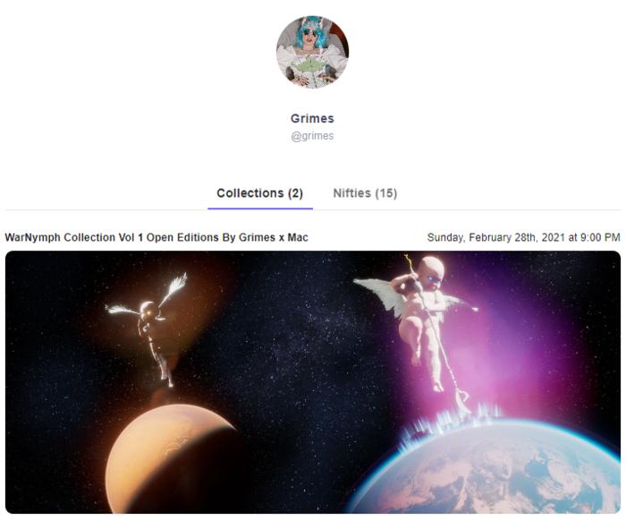 Artista Grimes vendió una colección NFT que comprende 10 piezas por $ 6 millones.