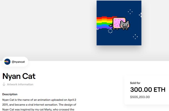 Nyan cat es un GIF convertido en NFT que se vendió por casi 500.000 dólares.