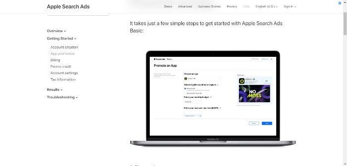 campaña publicitaria para aplicación patrocinada: imagen de anuncio de Apple Search