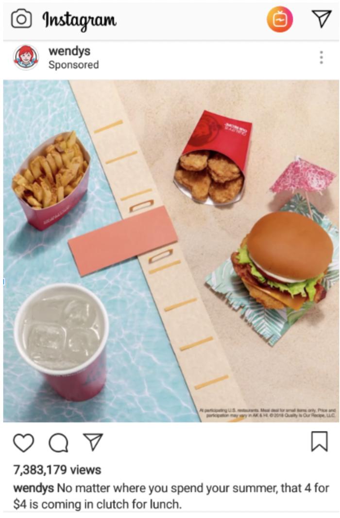Ejemplos de buenos anuncios de comida: Wendy's