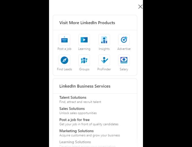 LinkedIn Insights: página de ofertas de productos
