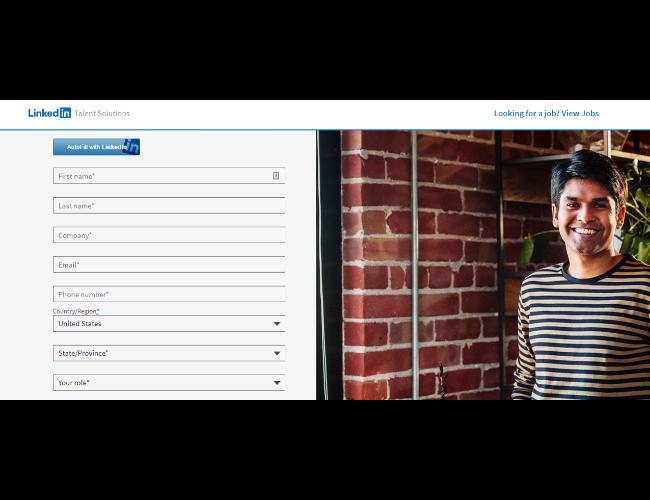 Formulario de registro de LinkedIn Insights