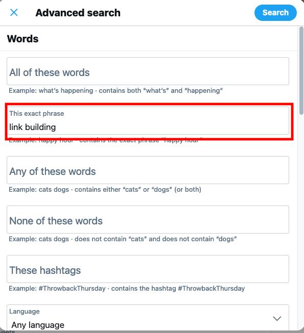 encontrar tweets antiguos mediante la búsqueda avanzada: captura de pantalla