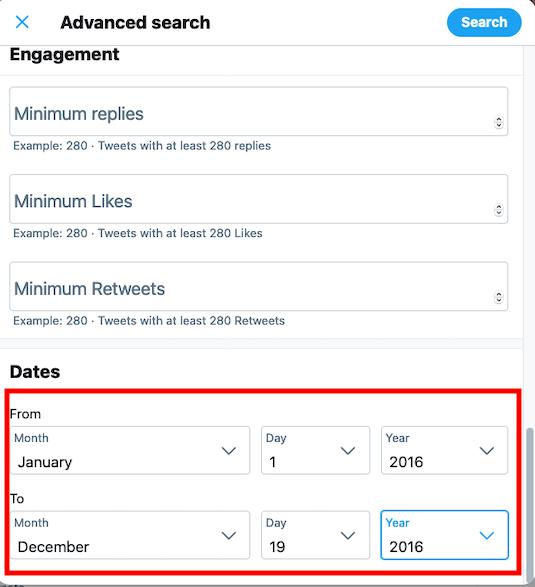 Cómo encontrar tweets antiguos: agregar un rango de fechas en la búsqueda avanzada de Twitter