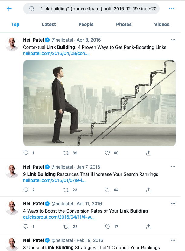 Tweets antiguos - Ejemplo de Neil Patel