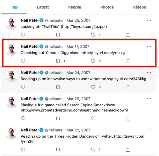 Tweets antiguos: ejemplo de Neil Patel para encontrar el primer tweet