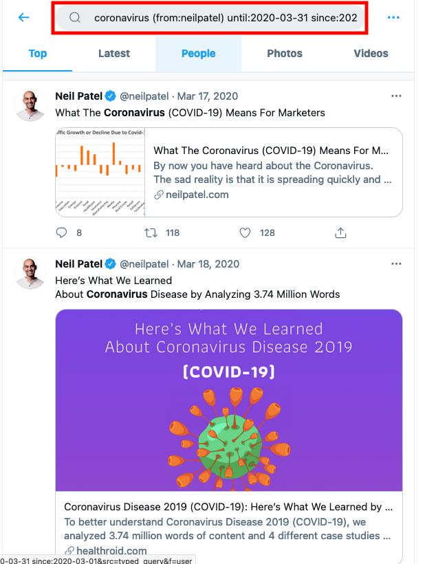 Ejemplos de tweets antiguos, Neil Patel