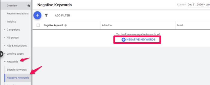 Google Adwords Google Ads Comment ajouter des mots clés à exclure