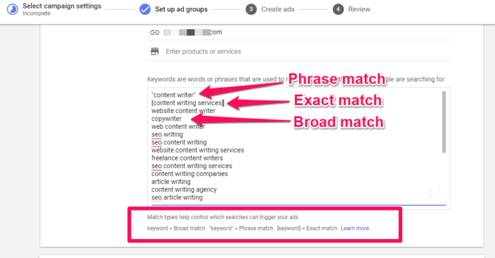 types de correspondance des mots clés google adwords