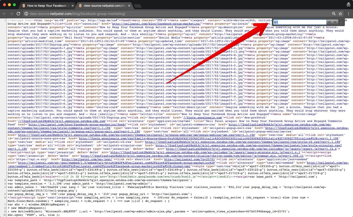 """Etiqueta H1: ingresándola en el cuadro de búsqueda del código fuente """"class ="""" wp-image-26600 """"width ="""" 700 """"height ="""" 437"""