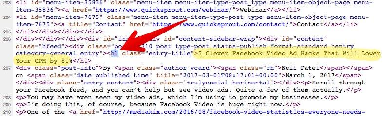"""Etiqueta H1 - """"Facebook video hack"""" en el código fuente y el título """"class ="""" wp-image-26614 """"width ="""" 700 """"srcset ="""" https://neilpatel.com/wp-content/uploads/2017/03 / image25 -5.jpg 786w, https://neilpatel.com/wp-content/uploads/2017/03/image25-5-350x106.jpg 350w, https://neilpatel.com/wp-content/uploads/2017 / 03 /image25-5-768x234.jpg 768w, https://neilpatel.com/wp-content/uploads/2017/03/image25-5-700x213.jpg 700w """"tamaños ="""" (ancho máximo: 786px) 100vw, 786px"""