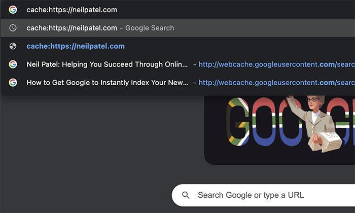 Herramientas del visor de caché web: use la barra de direcciones de Chrome para buscar páginas almacenadas en caché