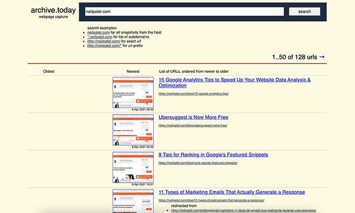Herramientas del visor de caché web: archivado de muestra hoy