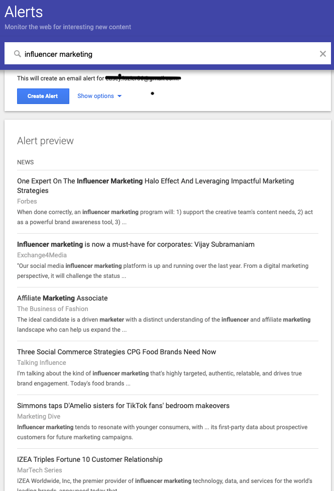 marketing de influencers - alertas de google