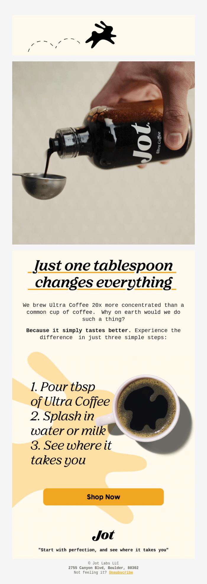 jot coffee haga clic para abrir la tarifa de correo electrónico