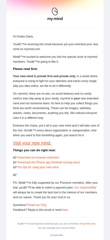 mi ejemplo de correo electrónico mental con tasa de clics para abrir