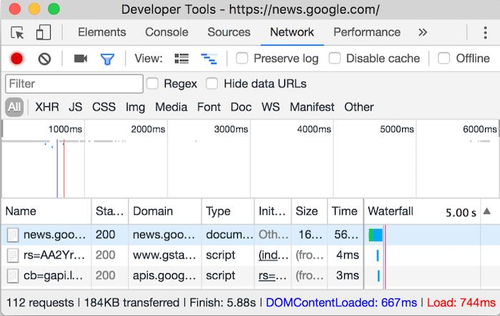 Realice menos solicitudes HTTP - Chrome DevTools