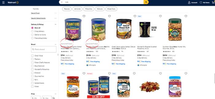Búsqueda de anuncios de Walmart en una cuadrícula de muestra