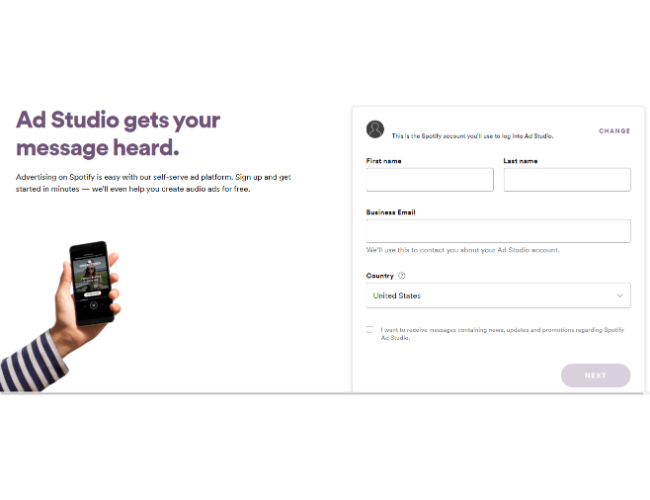 crear una cuenta de anuncios de Spotify
