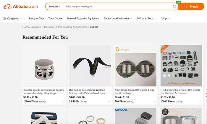 MOQ - ejemplo de Alibaba
