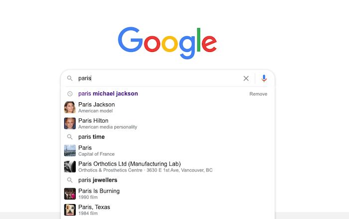 búsqueda de google para parís mostrando seo basado en entidades