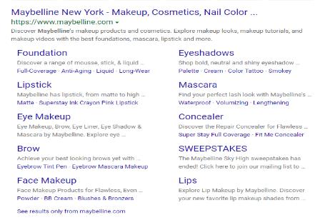 Centro de anuncios de Microsoft: búsqueda de Maybelline