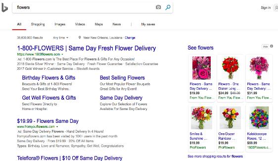 Microsoft adcenter: de su anuncio de cuadrícula de flores