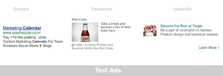 muestra de anuncio gráfico de diferentes tipos de anuncios de Internet