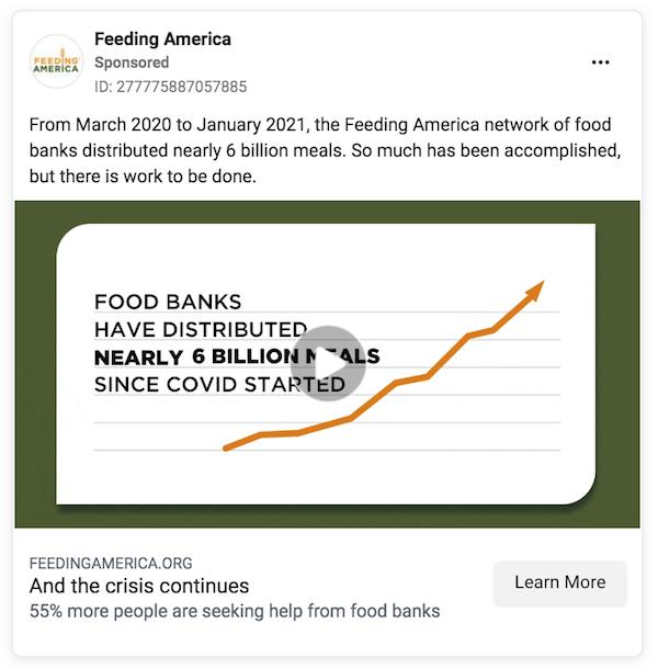 feed of america anuncio de facebook marketing sin fines de lucro