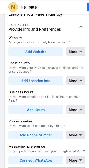 Cómo crear una página comercial en Facebook: ingrese la información de su empresa