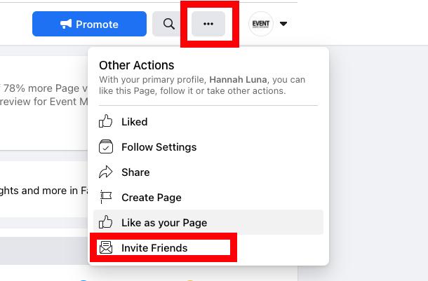 Cómo crear una página comercial en Facebook: invite a su audiencia