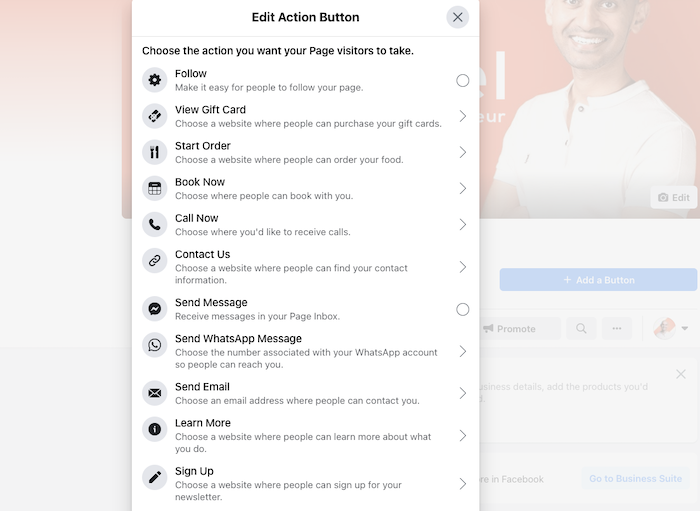 Cómo crear una página comercial en Facebook: elija el botón CTA