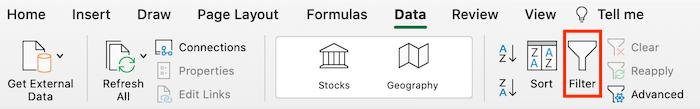Consejos de Excel para usar en campañas publicitarias pagas: use la opción de filtro en Excel