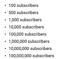 número de suscriptores - hitos de Youtube
