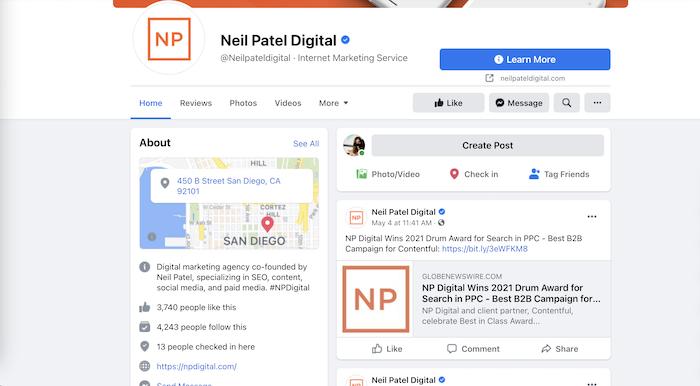 crear página de negocios de facebook - ejemplo de página de negocios de neil patel