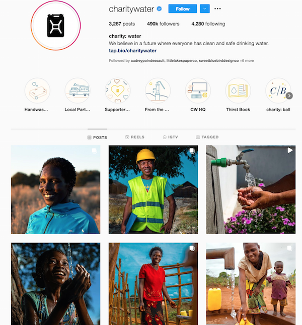 sin fines de lucro marketing instagram caridad agua