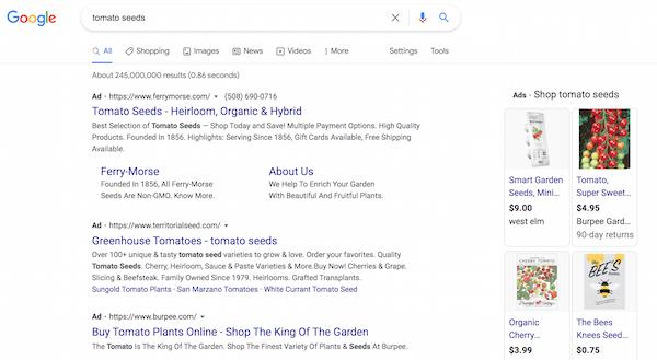 Campañas publicitarias de PPC para iniciar un negocio: anuncios de PPC de semillas de tomate en Google