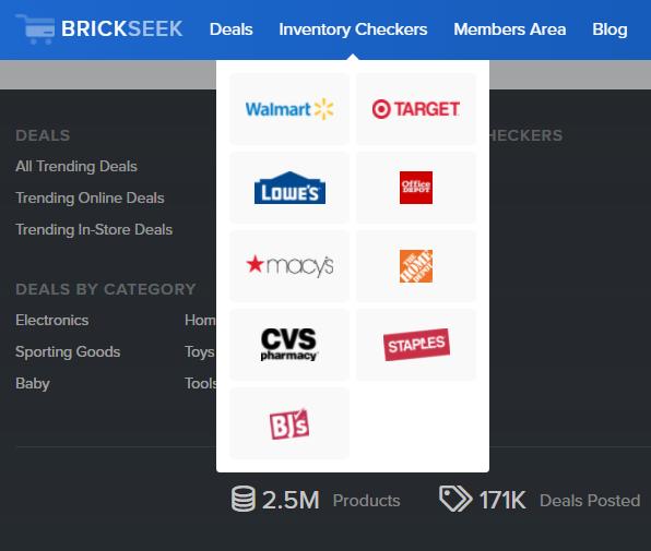 Brickseek para consumidores: función de verificación de inventario