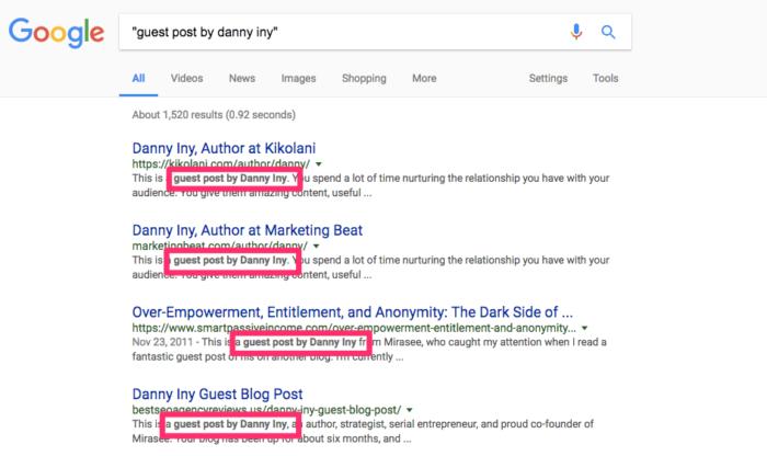publicación invitada de danny iny búsqueda de Google que muestra el poder del inbound marketing