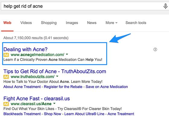 ejemplo de estrategias de texto de anuncios de Google