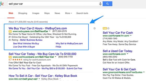 Ejemplo de estrategias de copia de anuncios de Google, compramos autos