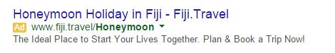 Ejemplo de luna de miel de estrategias de copia de anuncios de Google