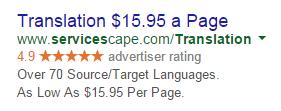 Servicios de traducción de estrategias de copia de anuncios