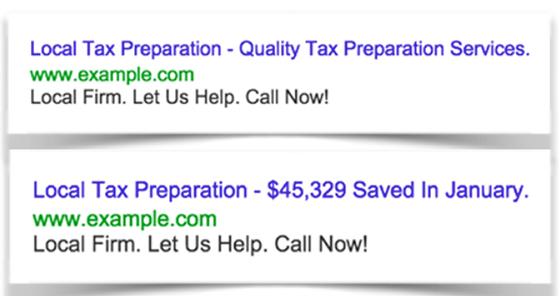 Ejemplo de preparación de impuestos de estrategias de copia de anuncios de Google