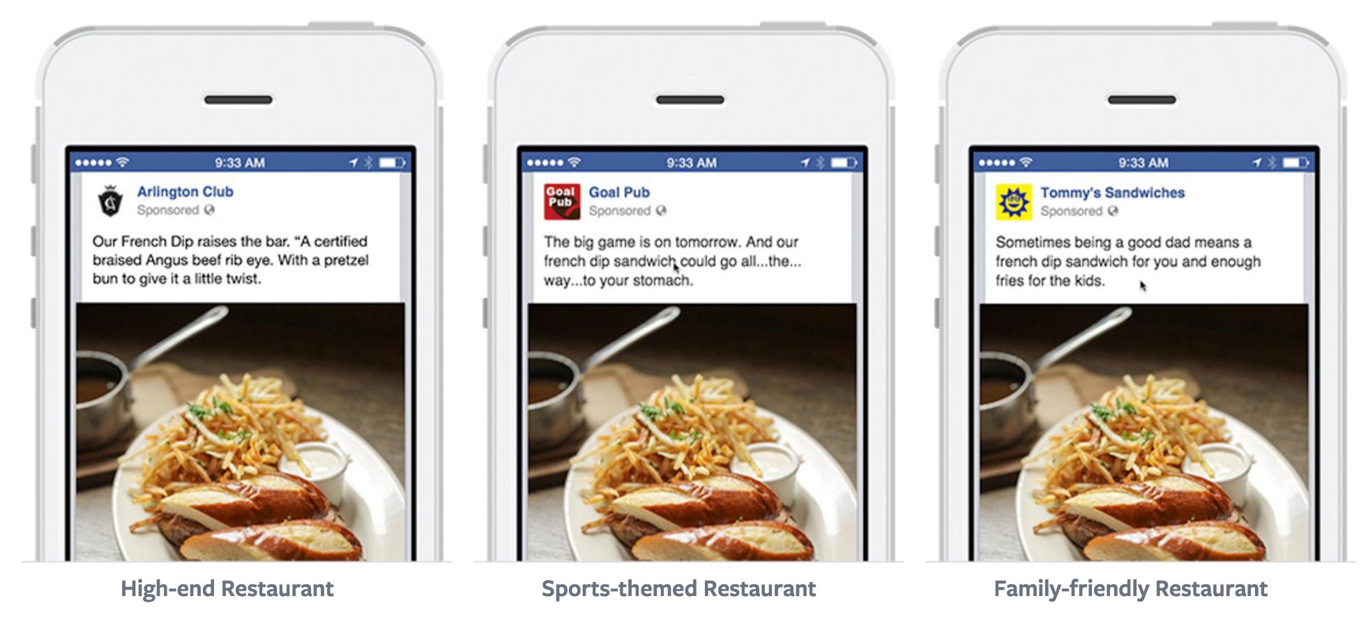 Tono de prueba de estrategias de copia de anuncios de Facebook