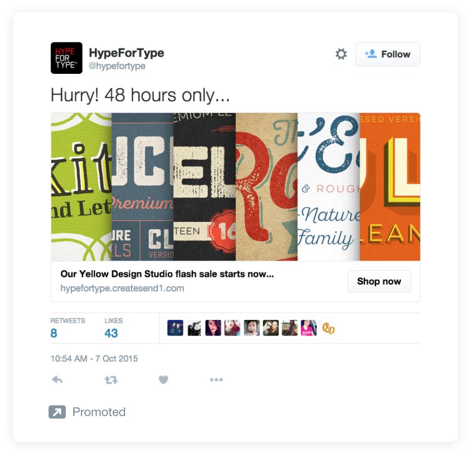 Estrategias de copia de anuncios de Twitter para un ejemplo típico