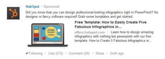 Ejemplo de estrategias de copia de anuncios de hubspot linkedin